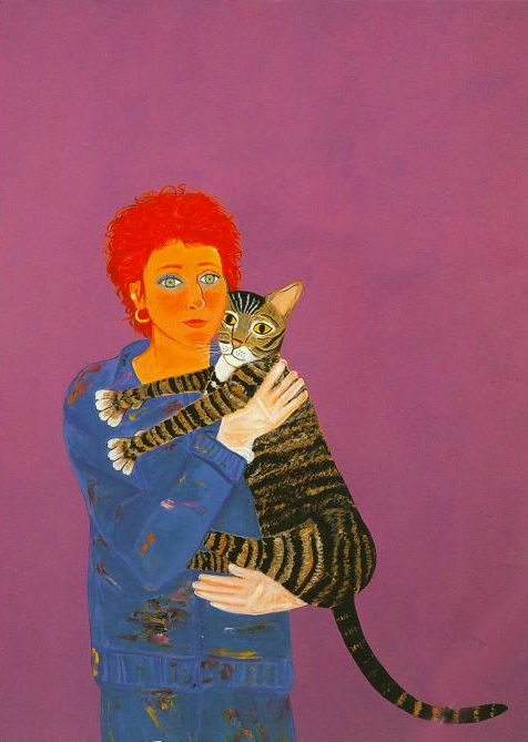 Self Portrait with Donald, 1982, oil enamel on canvas, 72-1/8 x 60 inches, Estate of Joan Brown