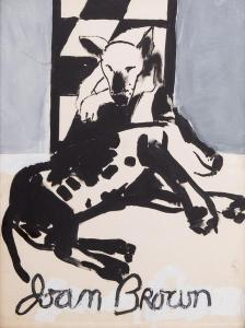 Joan Brown,  Drawing for Exhibition Poster (Bob the Dog Twice) 1961 Enamel on museum board 39 x 29 inches