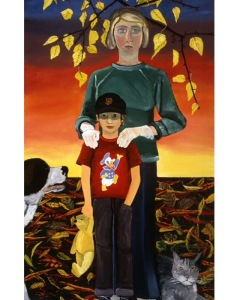 Joan Brown Christmas Time 1970 (Joan & Noel), 1970 Oil enamel on masonite 96 x 48 inches